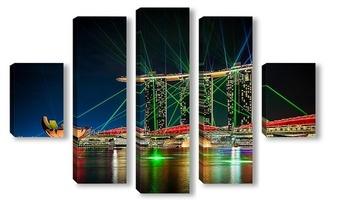Модульная картина Лазерное шоу Marina Bay
