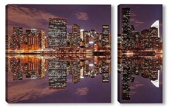Модульная картина Нью-Йорк ночью. Вид с залива