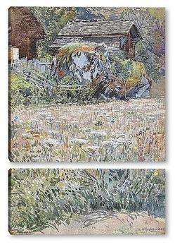 Модульная картина Цветочная поляна в сельской местности