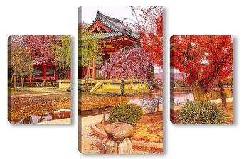 Модульная картина Осенний дворик