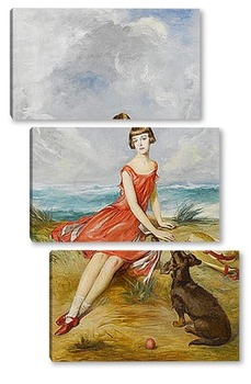 Модульная картина Портрет молодой девушки с ее собакой на берегу моря