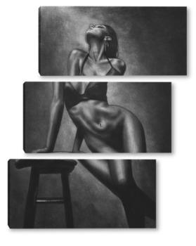 Модульная картина Серия о женщинах: обнаженная фигура со стулом