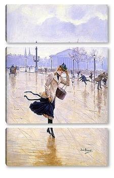 Модульная картина Ветренный день на площади Конкорд
