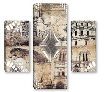 Модульная картина Архитектура Парижа