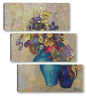 Модульная картина Две вазы с цветами