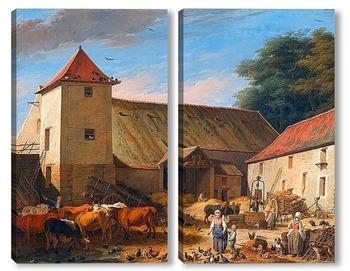 Модульная картина Сельский двор