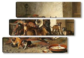 Модульная картина Бульдог и щенки