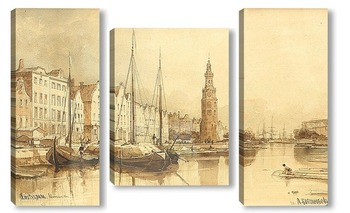Модульная картина Амстердам. Башня Монталбан. 1870