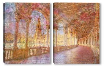 Модульная картина Цветущая арка Испании