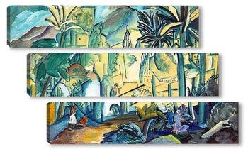 Модульная картина Пейзаж с пальмами, Индия