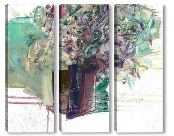Модульная картина букет в синей вазе