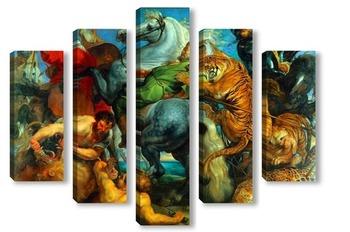 Модульная картина Тигр, лев и леопард, 1616