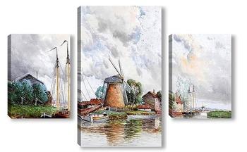 Модульная картина Насосные Мельницы недалеко от Роттердама