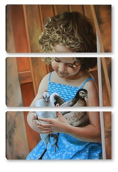 Модульная картина Девочка с птицами