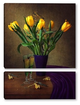 Натюрморт с желтыми тюльпанами
