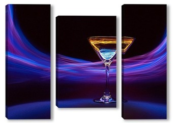 Модульная картина Фиолетовый вихрь вокруг бокала