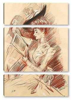 Модульная картина Мадам Эллё за чтением