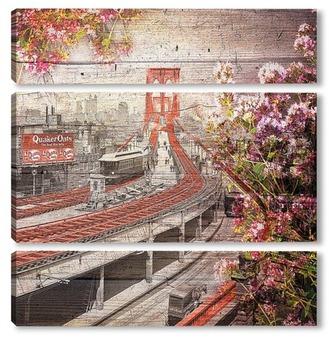Модульная картина Бруклинский мост 1903 год