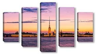 Модульная картина Санкт-Петербург. Петропавловка. Белая ночь.