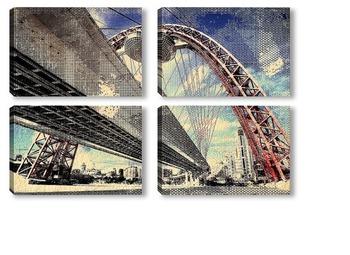Модульная картина Красный мост