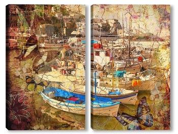 Модульная картина Пристань Санторини. Греция