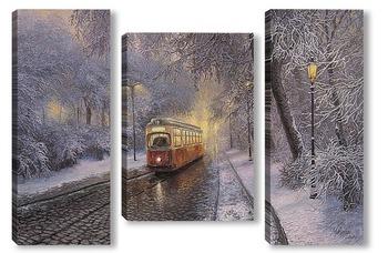 Модульная картина Городской трамвай...