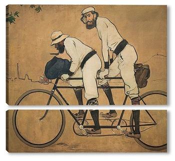 Модульная картина Рамон Касас и Пере Ромеу на велосипеде
