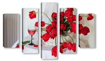 Модульная картина Красные тюльпаны