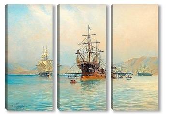 Модульная картина Французский фрегат у берегов французской Ривьеры