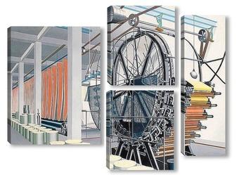 Модульная картина Бумажное производство
