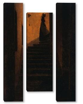 Модульная картина Каролина на ступеньках.