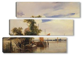 Модульная картина Баржи на реке