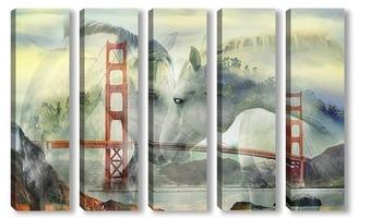 """Модульная картина """"Золотые ворота"""" Сан-Франциско"""