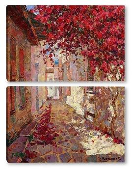 Модульная картина Цветущая улочка