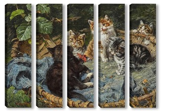 Модульная картина Пять котят в корзине