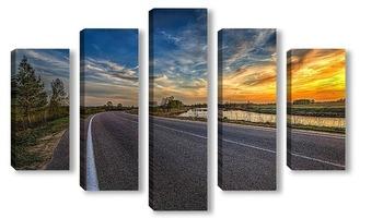 Модульная картина Дорога на закате