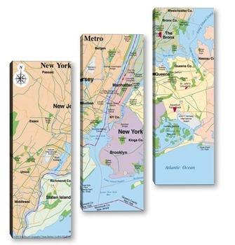 Модульная картина Карты городов_5