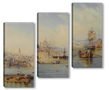 Модульная картина Константинополь от входа в бухту Золотой Рог