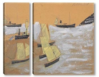 Модульная картина Лодки в порту