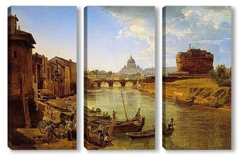 Модульная картина Новый Рим. Замок Святого Ангела 1825