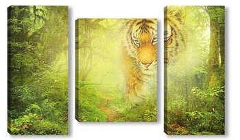 Модульная картина Тигр в джунглях