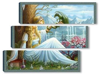 Модульная картина Эльфийка и дракон