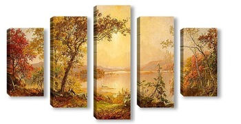 Модульная картина Озеро Гринвуд.Осень на Гудзоне