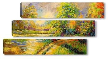 Модульная картина На закате у реки