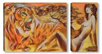 Модульная картина Две тигрицы