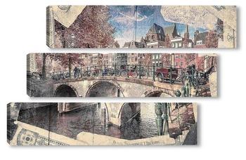 Модульная картина Мост через канал. Амстердам
