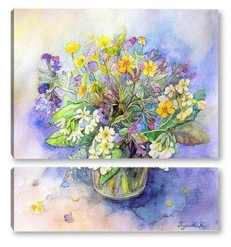 Модульная картина Букет первоцветов.