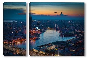 Модульная картина Ночной Екатеринбург