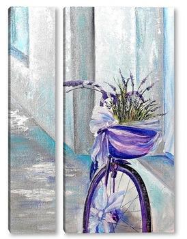 Модульная картина Велосипед с лавандой