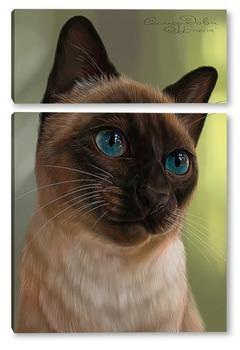 Модульная картина Кошка с голубыми глазами